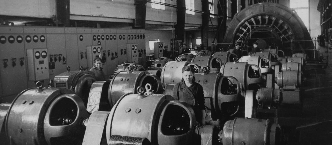 Machinery in Soviet factory