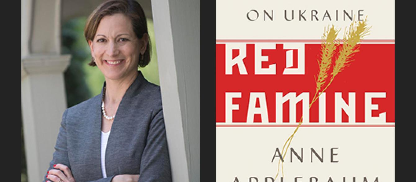 Anne Applebaum with book jacket for Red Famine