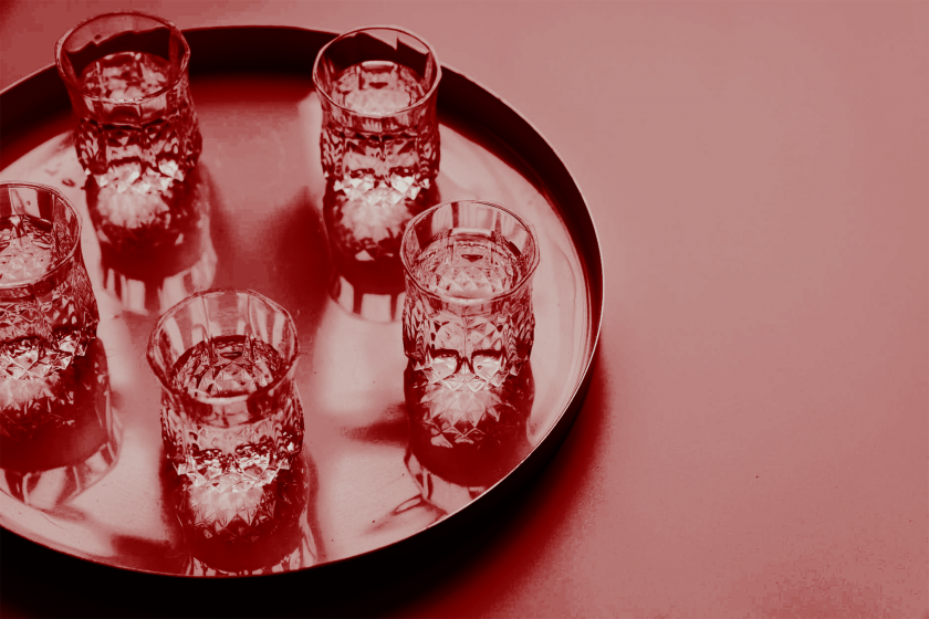 crystal vodka glasses on a tray