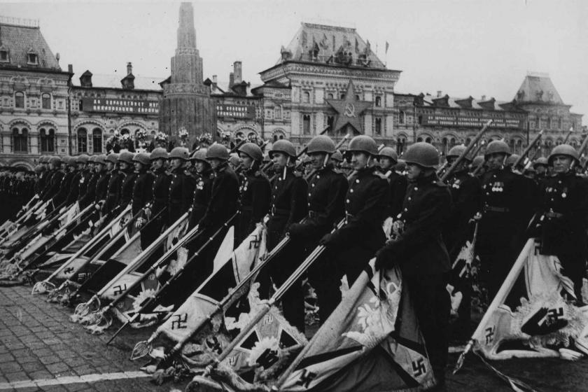 Soviet soldiers march across the Red Square with German standards seized in battles