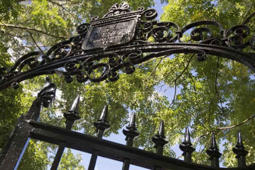 Wrought iron gate with Harvard shield