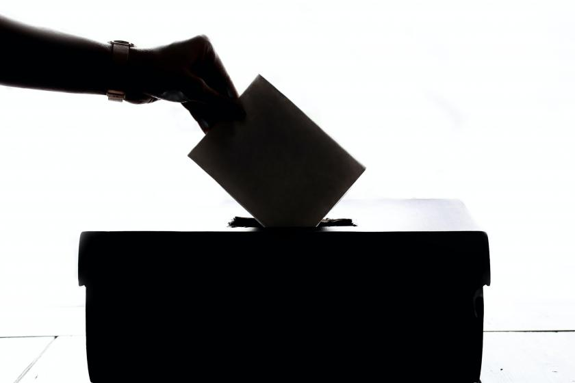 voter submitting ballot
