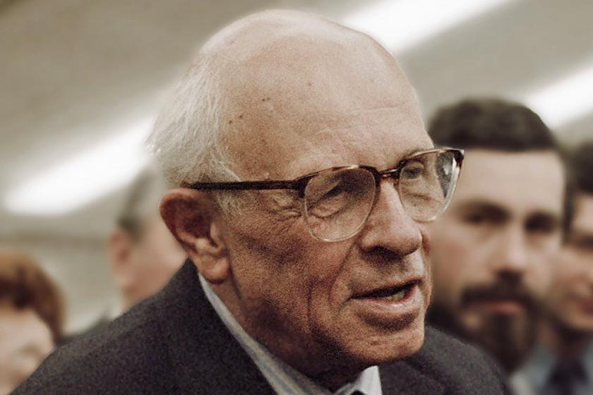 Andrei Sakharov in front of crowd and microphone